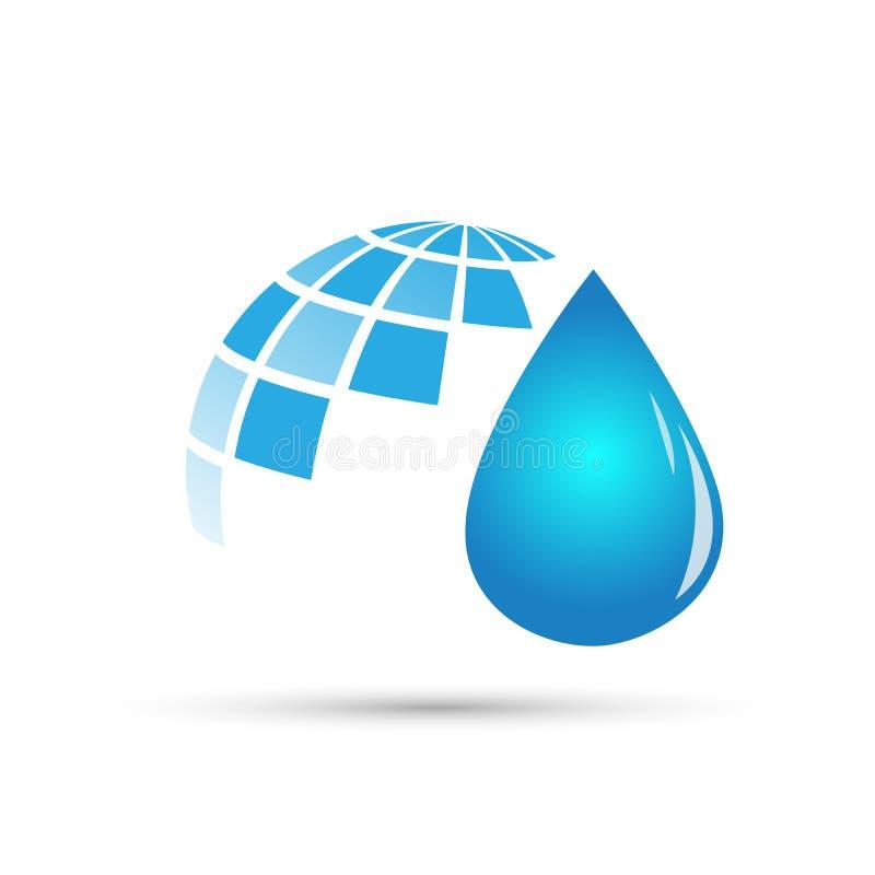 Entwerfen globale Naturelemente des Kugelwassertropfenlogoabwehrwasserpflanzefrühlingsnatursymbols auf weißem Hintergrund lizenzfreie abbildung