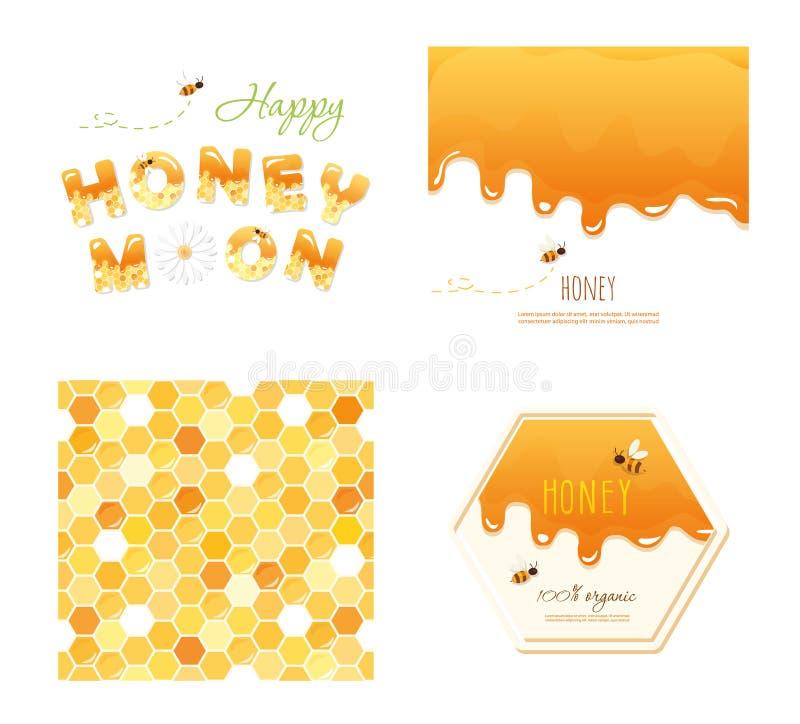 Entwerfen nahtloser Musterhintergrund der Bienenwabe, geschmolzener flüssiger Honig, Flitterwochenbuchstaben und anderer Proben e lizenzfreie abbildung