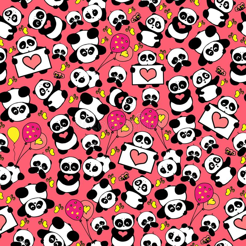 Entwerfen nette und lustige Hand gezeichnete Pandas mit Herzen nahtlosen Mustervektor stock abbildung