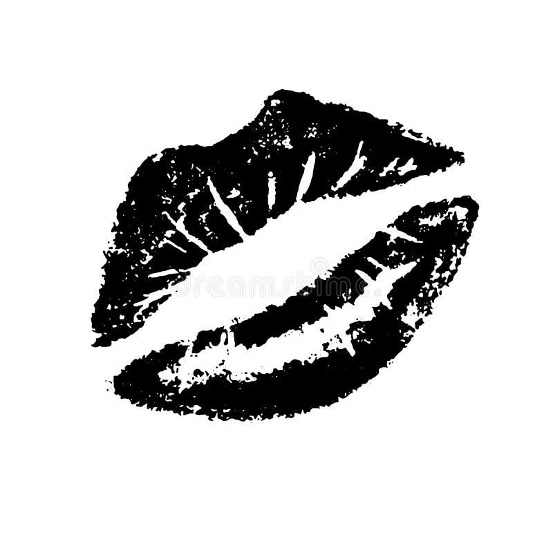 Entwerfen schwarzes Lippenstiftimpressum des Vektors, Lippen im Kuss für Valentinstagwaren, Liebesgeständnis, Hochzeitseinladung, lizenzfreie abbildung