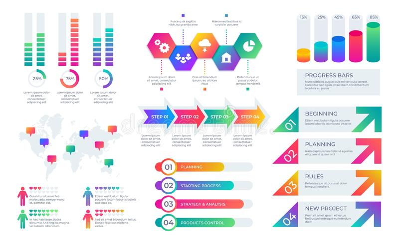 Entwerfen Sie Elemente Geschäftsdarstellungs-Diagrammplan, Geschäftsberichtzeitachse mit Stangen und Diagramme Vektor finanziell lizenzfreie abbildung