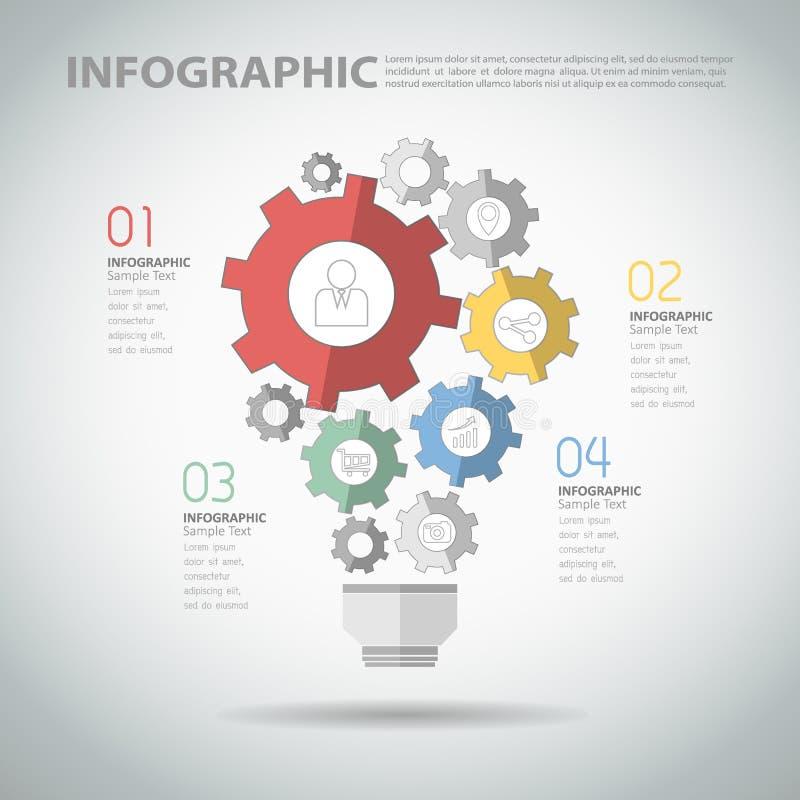 Entwerfen Sie infographic Schablone mit Glühlampe des abstrakten Gangs lizenzfreie abbildung