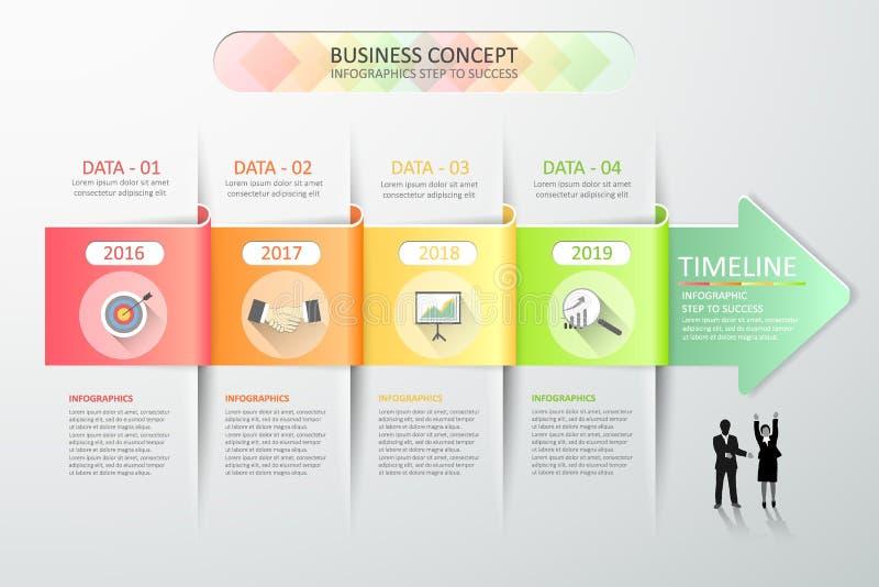 Entwerfen Sie infographic Schritte der Schablone 4 des abstrakten Pfeiles 3d für Geschäftskonzept lizenzfreie abbildung