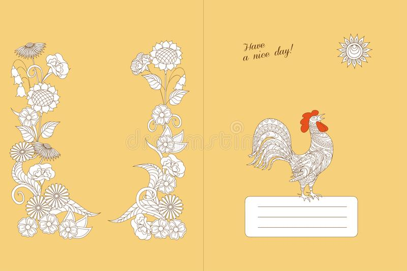 Entwerfen Sie Notizbuch mit Blumen-boho Muster und Hahn lizenzfreie abbildung