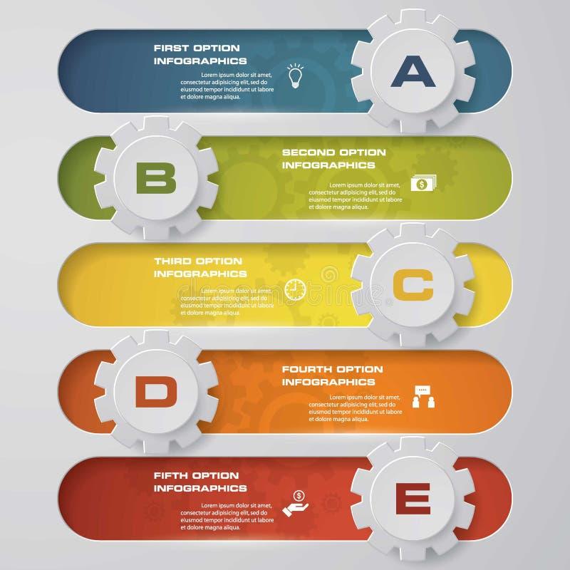 Entwerfen Sie saubere Zahlfahnen mit Formschablone des Gangs 3d/Grafik- oder Websiteplan Diagramm mit 5 Schritten stock abbildung