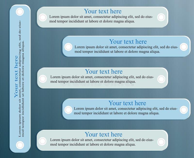 Entwerfen Sie saubere Zahlfahnen-Schablonengraphik oder Websiteplan 6 Schritte lizenzfreie abbildung