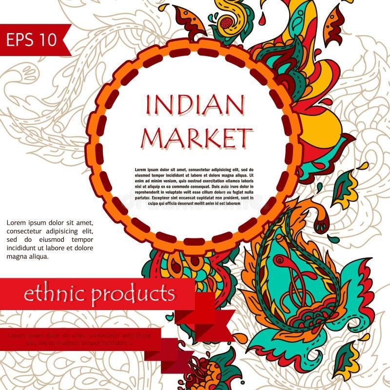 Entwerfen Sie Schablone für Paisley-Flieger/indische Feiertagskarte stock abbildung