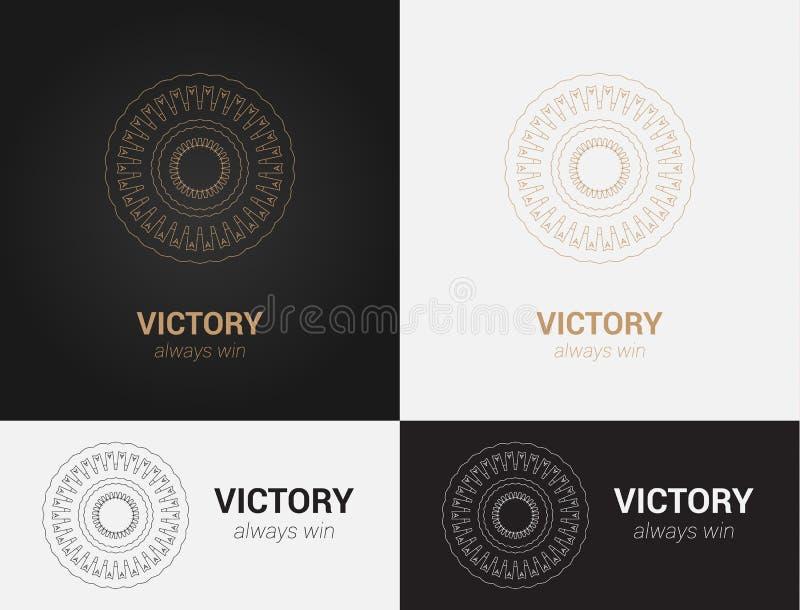 Entwerfen Sie Schablonen in den schwarzen, grauen und goldenen Farben Kreatives Mandalalogo, Ikone, Emblem, Symbol stockbild
