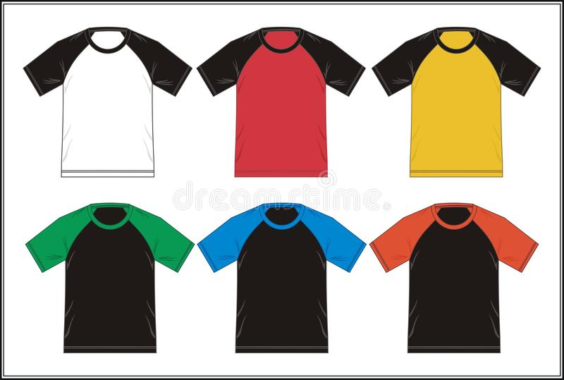 Entwerfen Sie Schablonen-T-Shirt Raglan-Kombination Farbe, Vektor stock abbildung