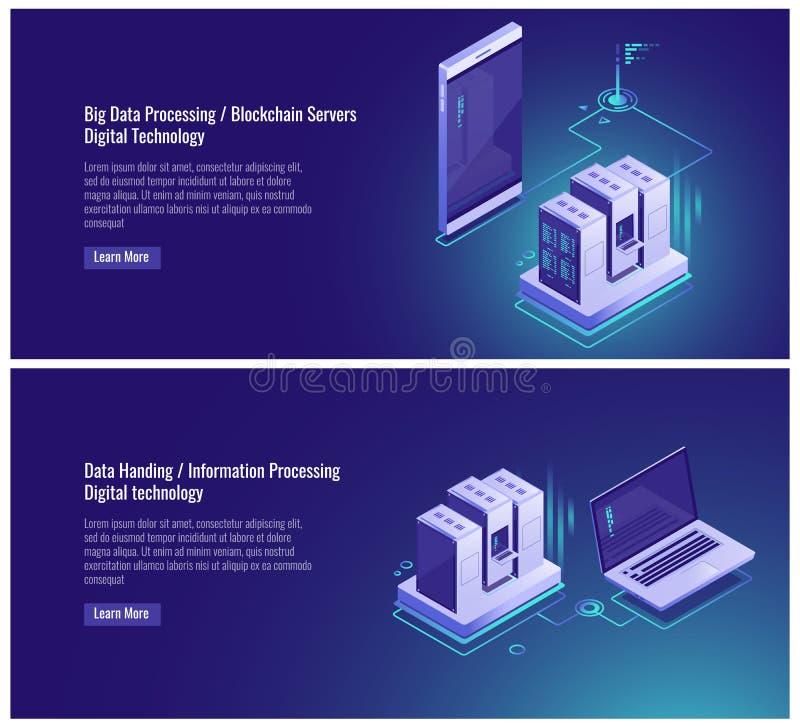 Entwerfen Sie Topologie des Netzes, Datenverbesserung, Klon der Dateistruktur, Wolkensicherungskopie, Serverraum, Wolkenservice vektor abbildung