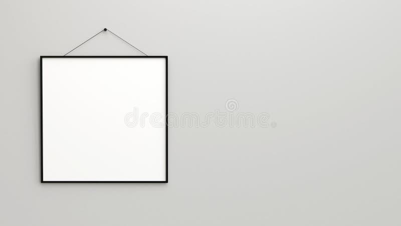 Entwerfen Sie Uhr mit leerem Schwarzweiss-Kasten der quadratischen Rahmen lizenzfreie abbildung