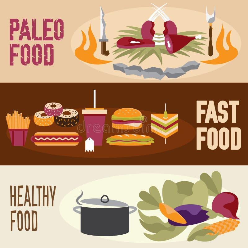 entwerfen Sie Vektorfahnen mit paleo Lebensmittel, Schnellimbiß und Gesundheit stock abbildung