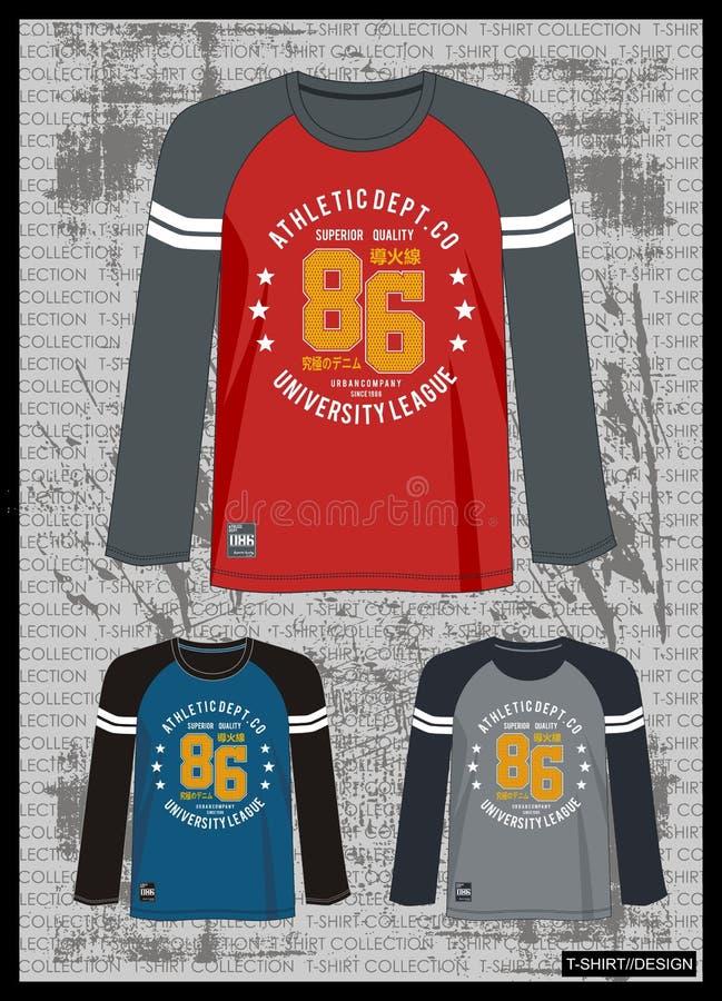Entwerfen Sie Vektorschablonen-T-Shirt Sammlung für Männer 014 lizenzfreie abbildung