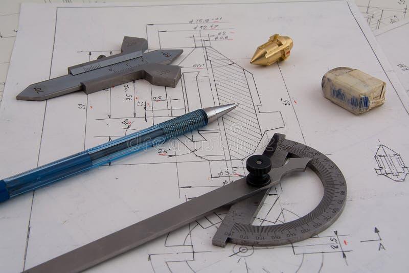 Entwerfen von mechanischen Teilen stockbilder