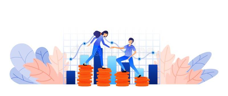 Entwickeln Sie Geldanlageanlagegüter in Gewinn überwachen Sie die Kundenbetreuung der Firma mit Diagrammen und Wagen Vektor illus vektor abbildung