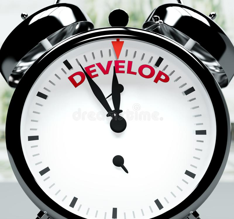 Entwickeln Sie sich bald, fast dort, in kurzer Zeit - eine Uhr symbolisiert eine Erinnerung, dass Develop in der Nähe ist, wird p stock abbildung