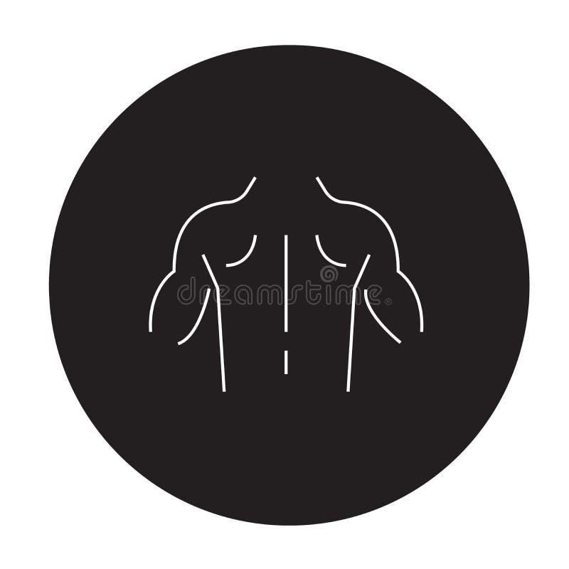 Entwickelte Vektor-Konzeptikone der Muskulatur schwarze Entwickelte flache Illustration der Muskulatur, Zeichen vektor abbildung