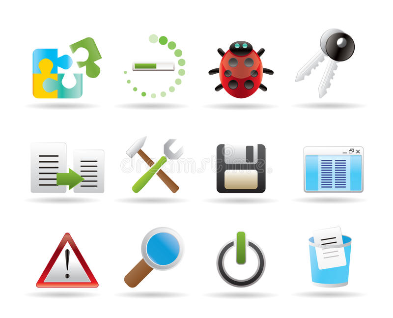 Entwickler-, Programmierung- und Anwendungsikonen lizenzfreie abbildung