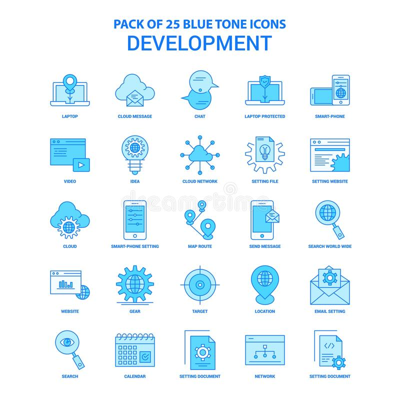 Entwicklung blaue Tone Icon Pack - 25 Ikonen-Sätze vektor abbildung