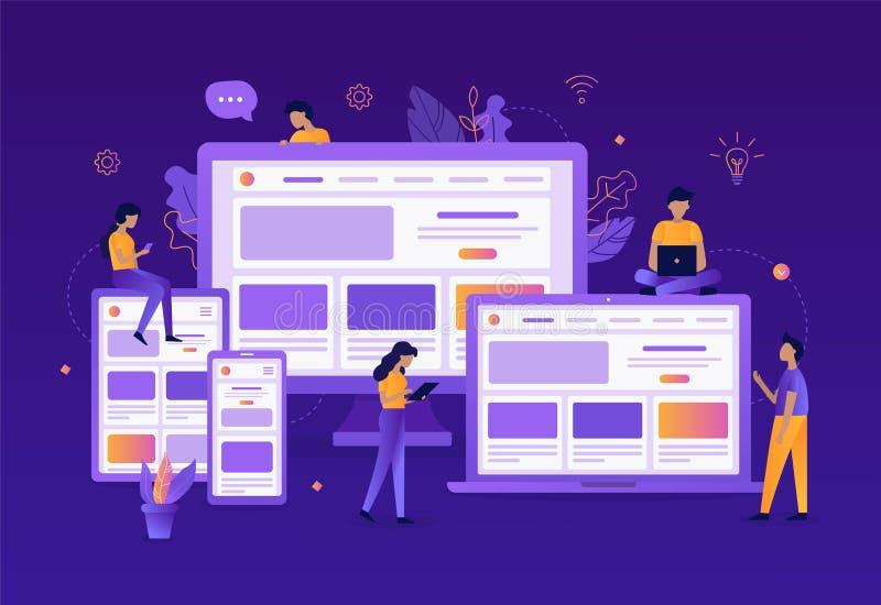 Entwicklung des entgegenkommenden Webdesigns lizenzfreie abbildung