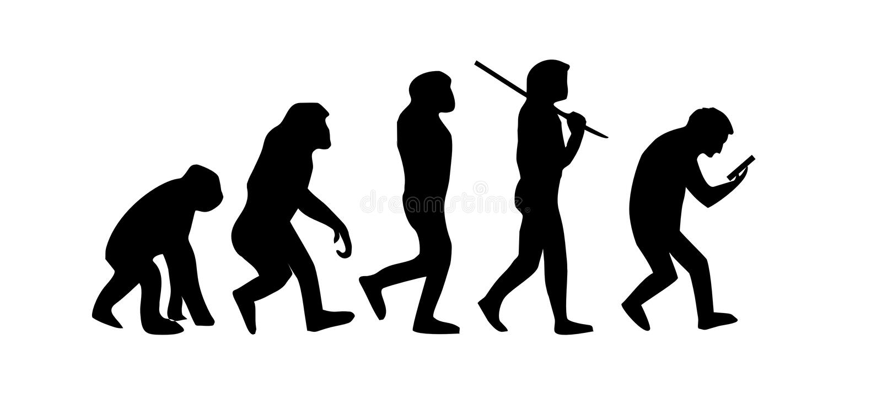 Entwicklung des Mannes zum intelligenten Telefon stock abbildung