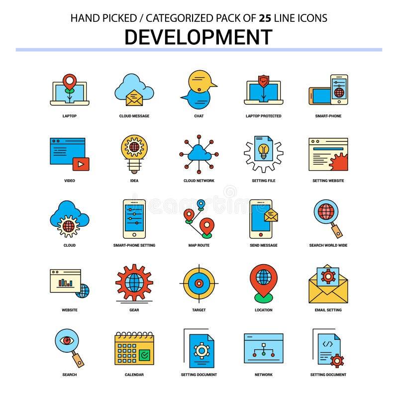 Entwicklungs-flache Linie Ikonen-Satz - Geschäfts-Konzept-Ikonen entwerfen lizenzfreie abbildung