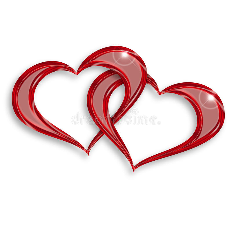 Entwined red hearts. Illustration of two entwined hearts on white background royalty free illustration