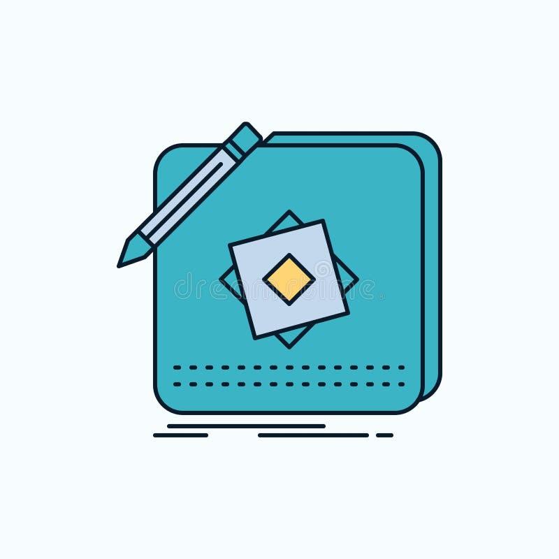 Entwurf, App, Logo, Anwendung, Entwurfs-flache Ikone r Vektor lizenzfreie abbildung