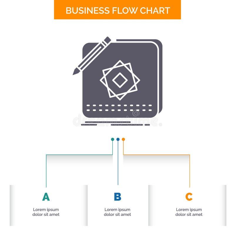 Entwurf, App, Logo, Anwendung, Entwurfs-Geschäfts-Flussdiagramm-Entwurf mit 3 Schritten Glyph-Ikone f?r Darstellungs-Hintergrund- vektor abbildung
