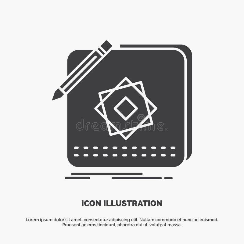 Entwurf, App, Logo, Anwendung, Entwurfs-Ikone graues Symbol des Glyphvektors f?r UI und UX, Website oder bewegliche Anwendung stock abbildung