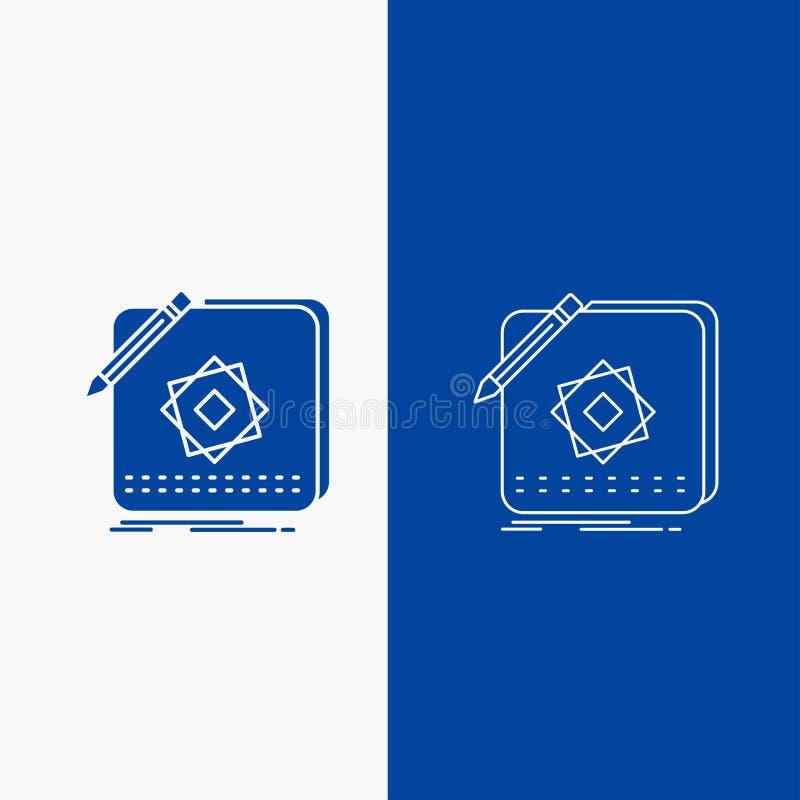 Entwurf, App, Logo, Anwendung, Entwurfs-Linien- und Glyphnetz Knopf in der blaue Farbevertikalen Fahne für UI und UX, Website ode stock abbildung