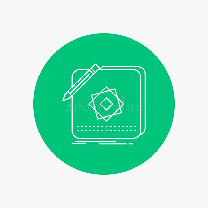 Entwurf, App, Logo, Anwendung, Entwurfs-weiße Linie Ikone im Kreishintergrund Vektorikonenillustration vektor abbildung