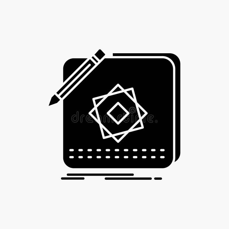 Entwurf, App, Logo, Anwendung, Entwurf Glyph-Ikone Vektor lokalisierte Illustration stock abbildung