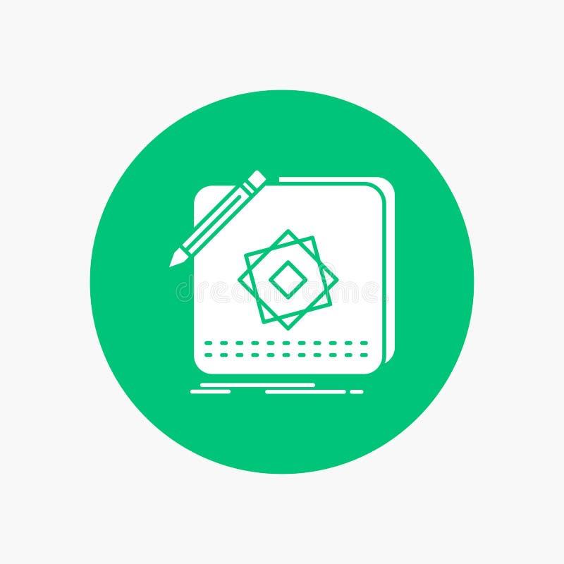 Entwurf, App, Logo, Anwendung, Entwurf weiße Glyph-Ikone im Kreis Vektor-Knopfillustration lizenzfreie abbildung