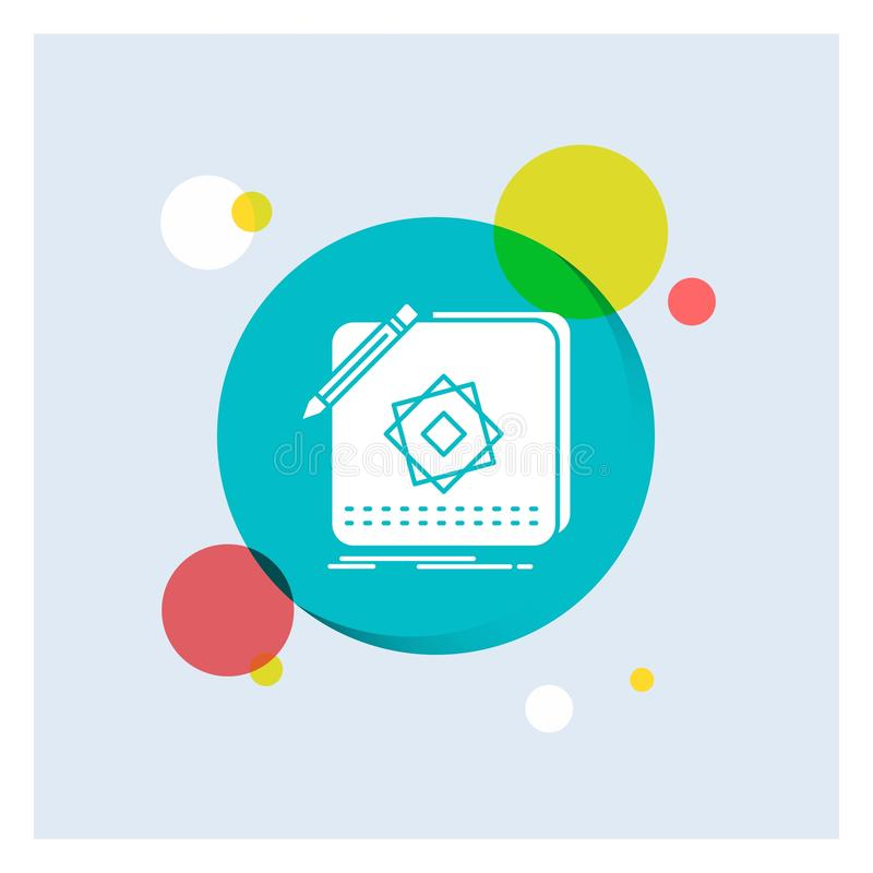 Entwurf, App, Logo, Anwendung, Entwurf weiße Glyph-Ikonen-bunter Kreis-Hintergrund vektor abbildung