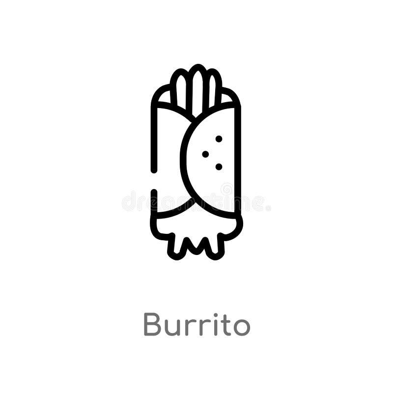 Entwurf Burrito-Vektorikone lokalisiertes schwarzes einfaches Linienelementillustration vom Schnellimbisskonzept Editable Vektora lizenzfreie abbildung