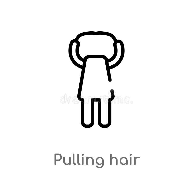 Entwurf, der Haarvektorikone zieht lokalisiertes schwarzes einfaches Linienelementillustration vom Leutekonzept Editable Vektoran lizenzfreie abbildung