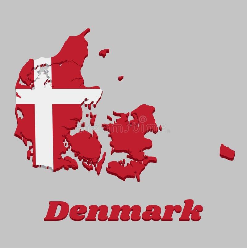 Karte Der Markierungsfahne 3d Von Dänemark Stock Abbildung