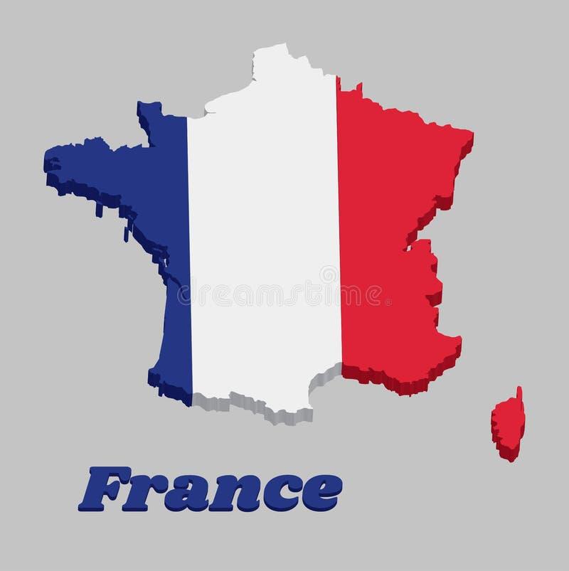 Frankreich-Markierungsfahnenkarte 3D Stock Abbildung
