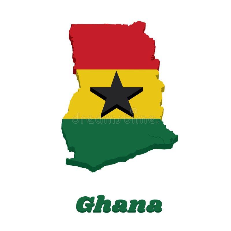 Entwurf der Karte 3D und Flagge von Ghana, ein horizontales triband des Rotes, des Goldes und des Grüns, aufgeladen mit einem sch stock abbildung
