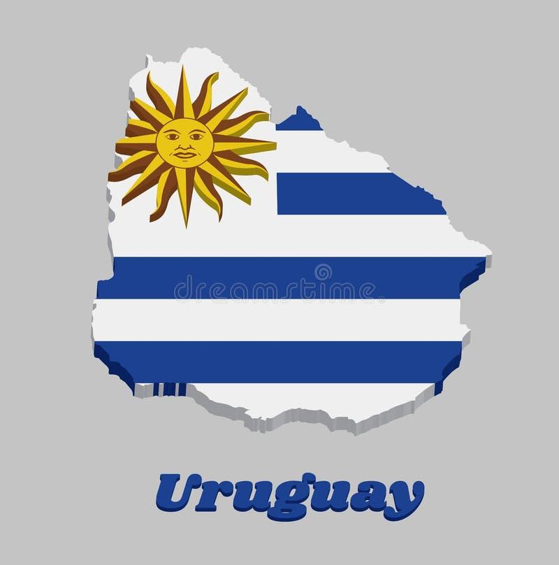 Entwurf der Karte 3D und Flagge von Uruguay, horizontale Streifen der weißen Alternative mit hellblauem und der Sun von Mai stock abbildung