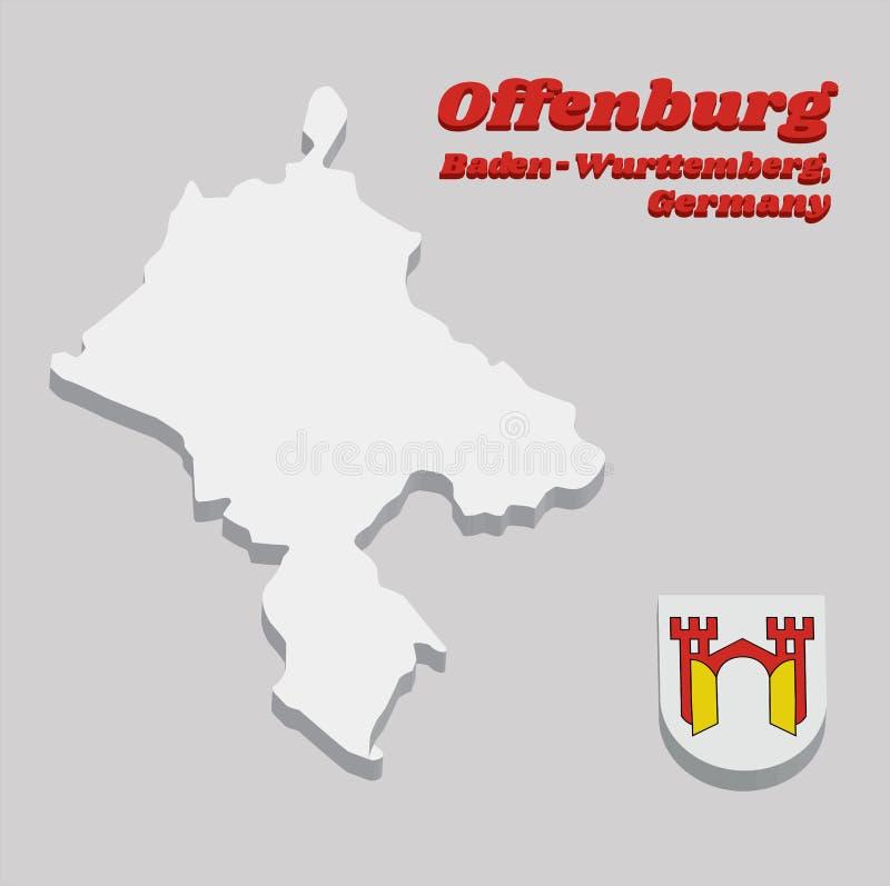 Entwurf der Karte 3D und Wappen von Offenburg, ist es in Baden-Wurttemberg stock abbildung