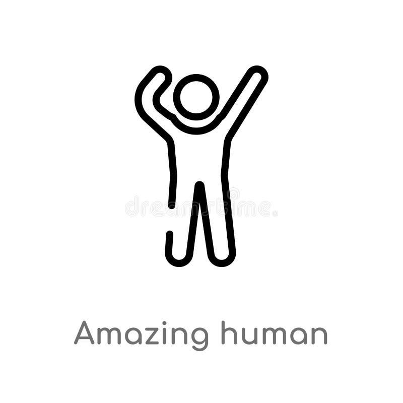 Entwurf, der menschliche Vektorikone überrascht lokalisiertes schwarzes einfaches Linienelementillustration vom Gefühlskonzept Ed stock abbildung