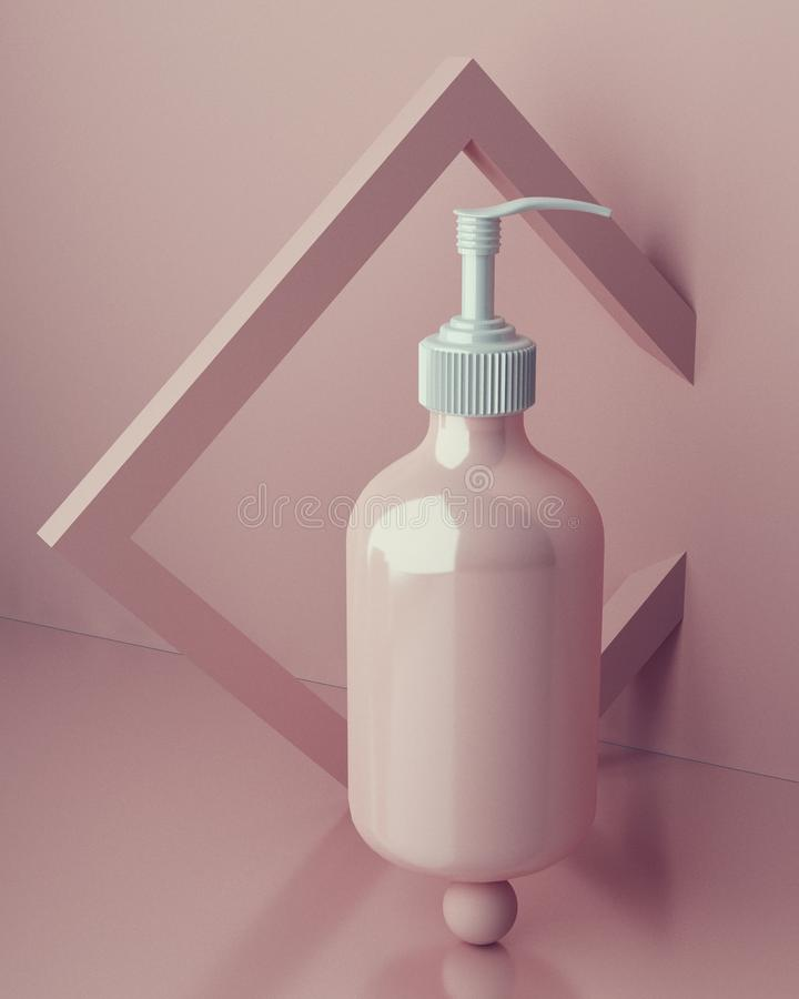 Entwurf der natürlichen kosmetischen Creme, Serum, skincare leeres Flaschenverpacken Biobioprodukt Schönheit und Badekurortkonzep lizenzfreie abbildung