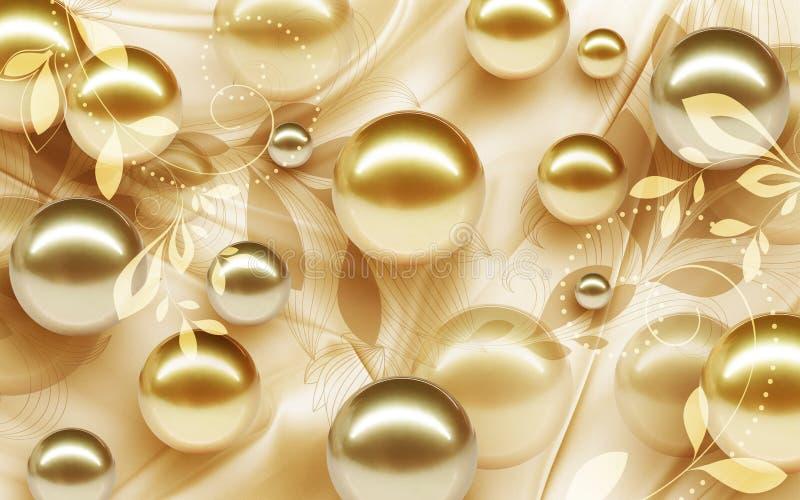 Entwurf der Tapeten-3D mit den Blumen- und geometrischen Gegenständen Goldkugel und den Perlen, purpurrote Blume der Goldschmuck- stockbild