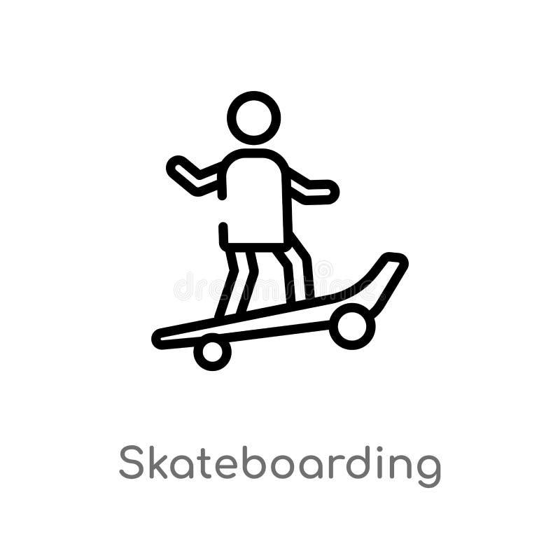 Entwurf, der Vektorikone Skateboard fährt lokalisiertes schwarzes einfaches Linienelementillustration vom Freizeitkonzept Editabl vektor abbildung
