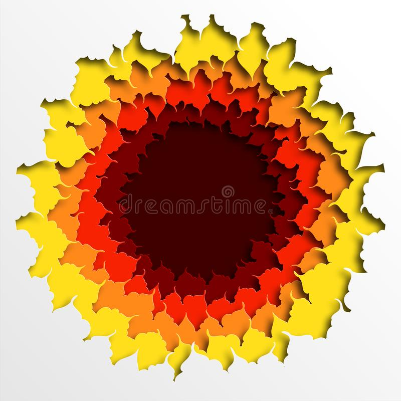 Entwurf des bunten Herbstlaubs gelegt in einen Kreis Schablone f?r die Werbung, Aufkleber, Plakat, Brosch?re Herbstpapierschnitt  stock abbildung