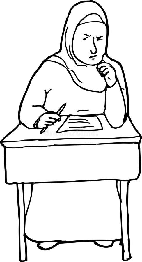 Entwurf des ernsten Studenten Thinking vektor abbildung