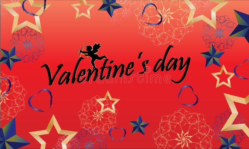 Entwurf des Hintergrundes mit Engel und dekorativen Sternen Illustrations-Valentinsgruß-Tag vektor abbildung