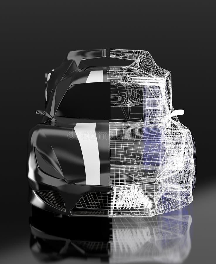 Entwurf des Konzeptes 3d, modernes schwarzes Sportauto, Skelett, 3d, übertragen lizenzfreie abbildung